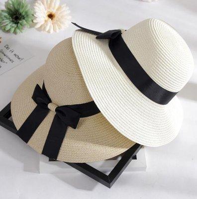 莎芭 草帽 可折疊帽子女春夏季圓頂蝴蝶結漁夫帽 度假遮陽帽 防紫外線沙灘帽