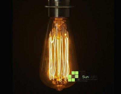 【SUN LIGHT 日光燈坊】愛迪生復古工業專用鎢絲燈泡Edison bulb單吊燈組, 另Flute義大利驚嘆號