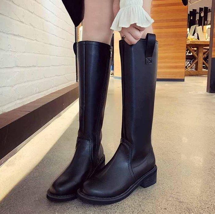長靴 高筒靴 皮靴女韓版百搭顯瘦馬靴 粗跟中跟長筒騎士靴 馬丁靴—莎芭