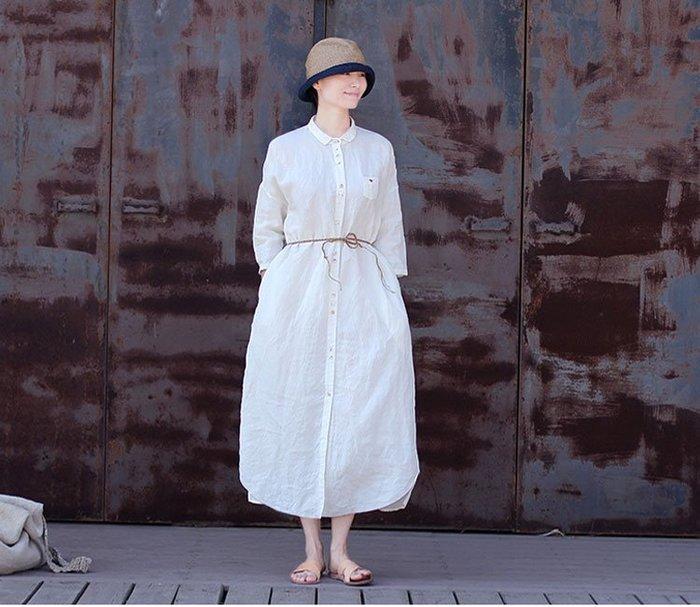 【子芸芳】原著夏高密亞麻淨白色小領單排扣寬鬆建築師襯衫式連衣裙