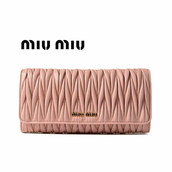 MIU MIU ►( 玫瑰粉紅色 × 金屬金色 ) 經典皺摺款  真皮 兩摺長夾 錢包 皮夾|100%全新正品|特價!