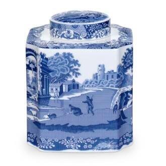 雷貝卡**英國SPODE 義大利藍  茶葉瓷罐(附原裝彩盒)