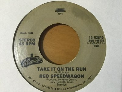 7吋單曲黑膠唱片《 REO Speedwagon - Take It On The Run 》美版、45轉
