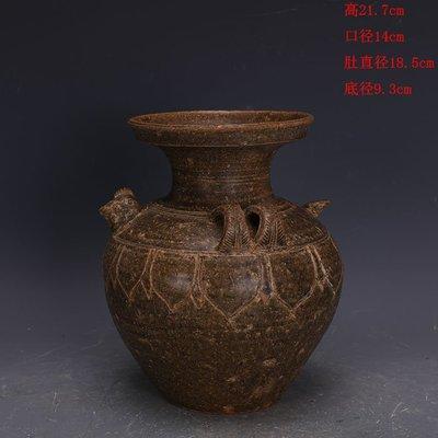 ㊣三顧茅廬㊣   漢代越窯青釉手工瓷雙系雞頭盤口瓶出土文物   古瓷古玩古董收藏品