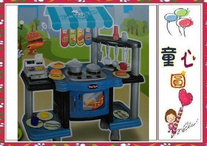 豪華收銀烹飪雙面廚房組~收銀機 /微波爐 /烤箱 /瓦斯爐具~有燈光音效◎童心玩具1館◎