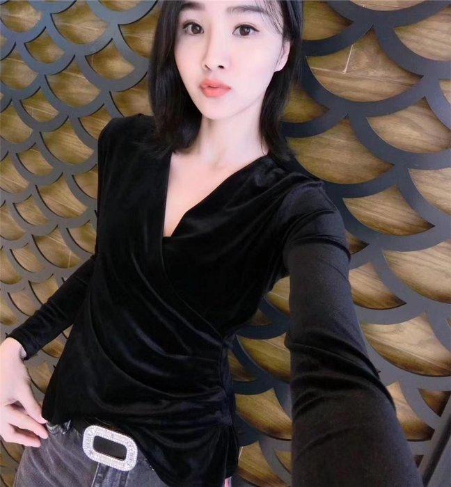 ~Linda~新款秋季百搭交叉v領 上衣洋氣打底衫長袖包身時尚t恤女裝冬