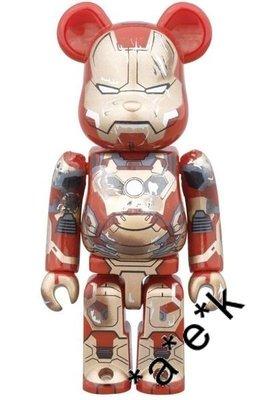 Bearbrick Marvel Avengers Ironman 3 100% Damage Mark XLII 42 戰損版 Be@rbrick (全新)