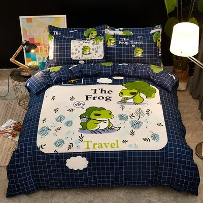 [旅行青蛙同款] 卡通春夏床包4件組(被套+床單+枕套) 學生宿舍 百搭 平價 CP值高 日本爆紅 網紅ig推薦 創意