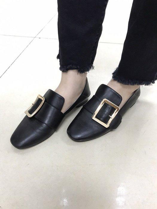 NETSHOP collection 歐美復古老鞋 vintage 懶人鞋軟皮方釦 休閒鞋 方頭踩後跟鞋樂福鞋 兩色