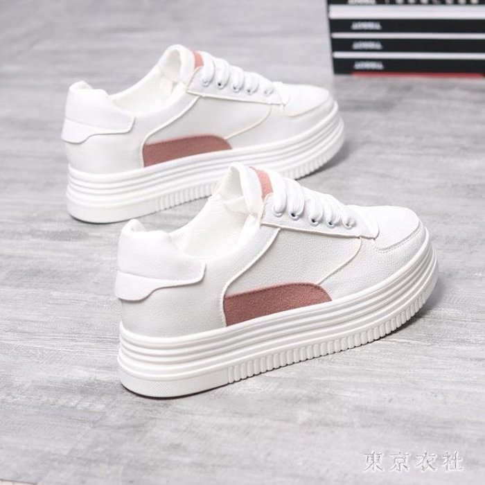 新款百搭厚底鬆糕街拍女板鞋內增高小白鞋 QQ8502