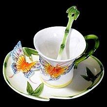 青竹蝴蝶 立體陶瓷杯盤匙組 下午茶 花茶杯 咖啡杯