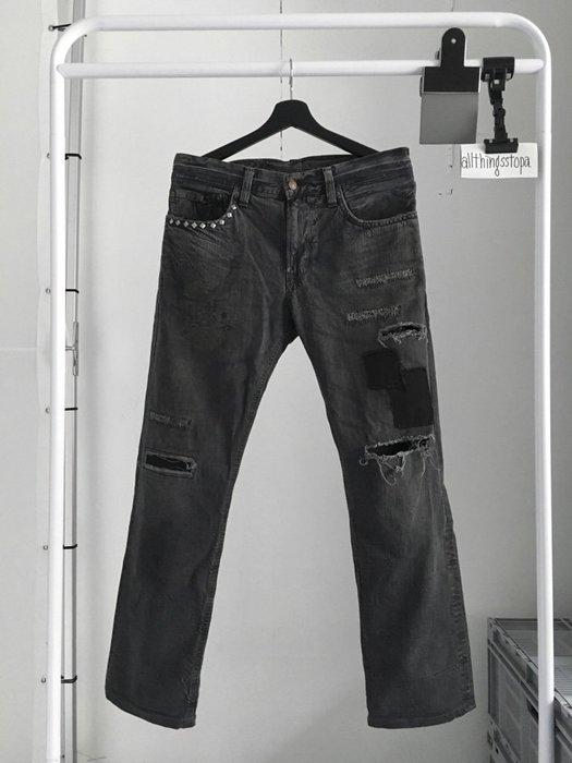 Edwin 502RV 黑色 卯釘 補丁 破壞牛仔褲