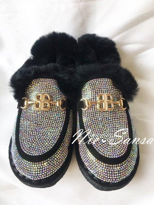 Nie Sansa 現貨特價39號  兔毛全鑽造型休閒鞋/穆斯鞋/包鞋