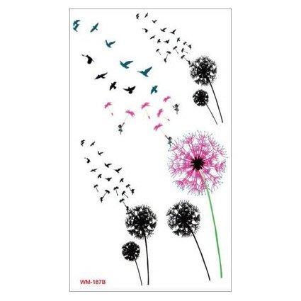 【萌古屋】M系列飛鳥蒲公英- 男女防水紋身貼紙原宿刺青貼紙WM-187B