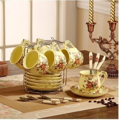 粉紅玫瑰精品屋~歐式陶瓷咖啡杯套裝高檔象牙瓷咖啡杯組~