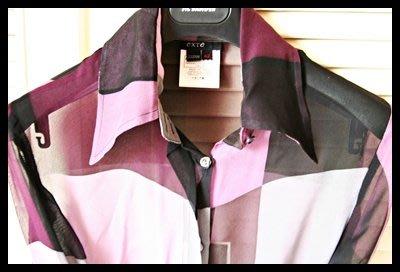 全新EXTE幾何色塊100%純絲長袖襯衫