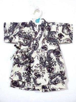 ✪胖達屋日貨✪褲款 90cm 米底 水墨畫 龍神 日本 男 寶寶 兒童 和服 浴衣 甚平 抓周 收涎 攝影