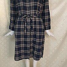 M491品牌SPAO 深藍格紋 襯衫式附腰帶 連身裙洋裝L號
