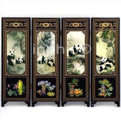 INPHIC-四扇仿古小屏風擺飾 中國風圖案公關外事 大熊貓