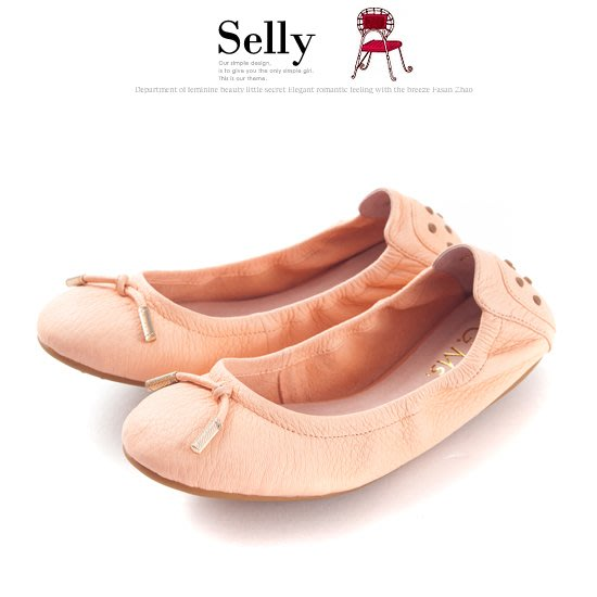 Selly outlet 輕旅行-全真皮單結蝴蝶結折疊豆豆鞋(S062)蜜粉橘36號 NG300