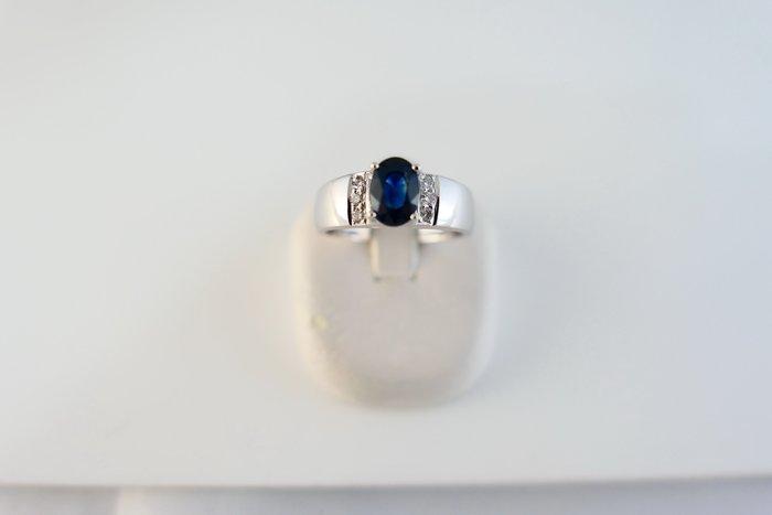 [吉宏精品交流中心]1.20克拉 天然藍寶石 天然鑽石 白K金 造型 戒指