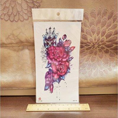 【萌古屋】珠寶玫瑰小腿手臂大圖 - 男女防水紋身貼紙刺青貼紙XQB-195 K00