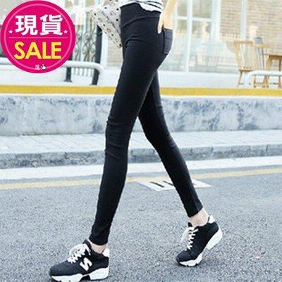 【JD Shop】 超顯瘦彈性高腰後口袋黑色長褲 小腳褲 緊身褲 鉛筆褲 九分褲 內搭褲