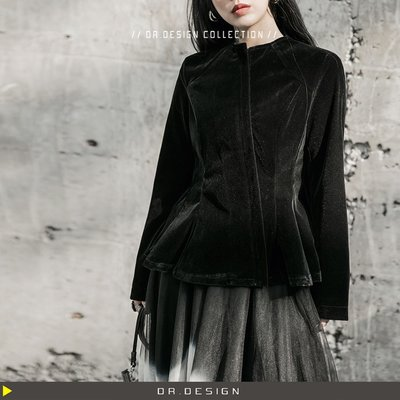 ►DR.DESIGN│DR3188防疫特價1100元-暗黑風 韓國絨料 修身氣質 柔軟 收腰 短夾克外套