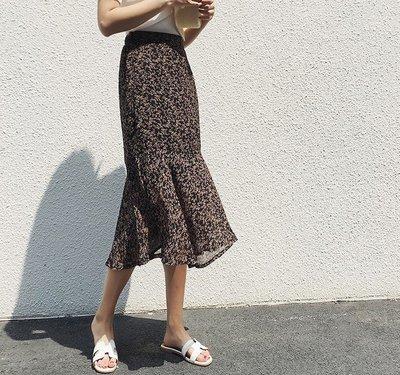 *lien時尚館*【18007】19新款╭*高腰復古小碎花鬆緊顯瘦魚尾裙