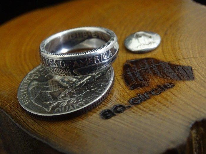 ao.circle 奢扣 美國 1964年 以前 D廠記 900 銀幣 美金25分 {純銀}5mm精細版 手工戒指