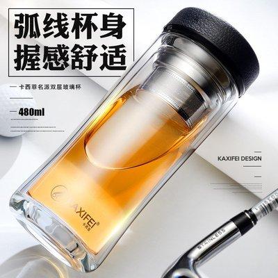 廠家直銷雙層高檔玻璃杯豪華精裝商務禮品高硼硅水杯廣告禮品訂制-hj23