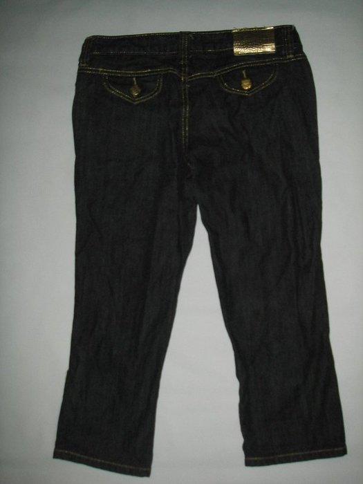 二手SWORDFISH劍魚灰黑色金釦牛仔褲八分褲附金色皮帶vivi雜誌109辣妹品牌