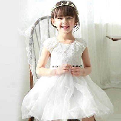 促銷價~女童簡約大方圓領全蕾絲浪漫鏤空花蓬蓬洋裝紗裙~花童或畢業典禮穿著~白色~