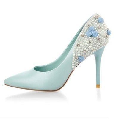 尖頭高跟鞋 水晶婚鞋-熱賣性感細跟經典女鞋子3色73e27[獨家進口][米蘭精品]