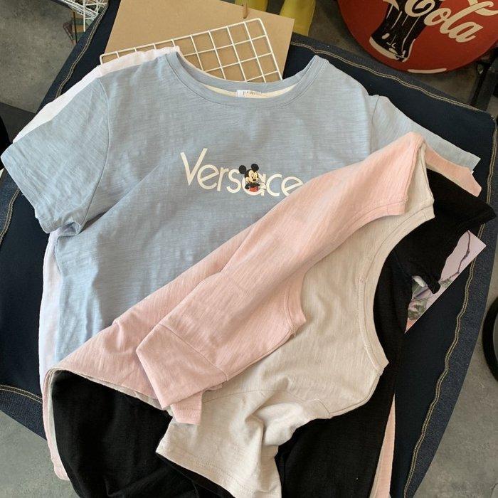 🌺 拿鐵小姐MISS LATTE🌺chic韓國單 百搭 簡約米奇印花竹節棉短袖 T恤