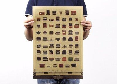 [現貨]打字機 Typewriter進化歷史 懷舊 老海報 廣告招貼畫 裝飾畫復古牛皮紙海報咖啡廳 電影館