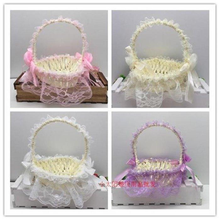 小太陽心形蕾絲花籃結婚現場婚禮用品創意手工編織花童花女撒花