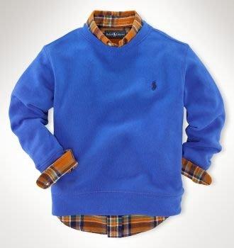 二手美國Polo Ralph Lauren 藍色繡馬厚棉長袖上衣 7T