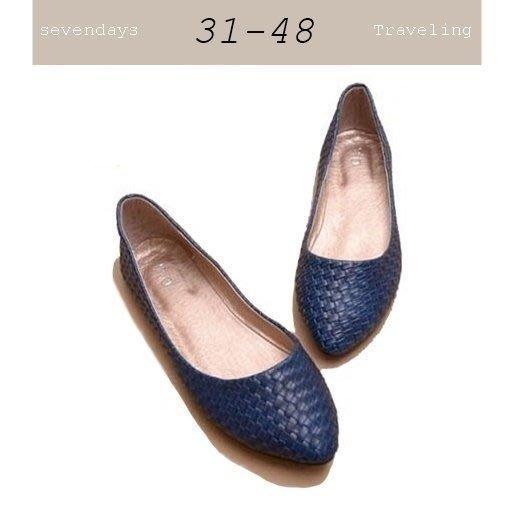大尺碼女鞋小尺碼女鞋編織百搭素面平底尖頭娃娃鞋平底鞋包鞋藍色(31-48)現貨#七日旅行