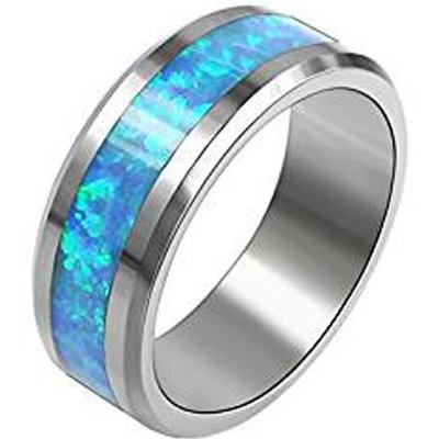 coi jewelry tungsten carbide opal wedding band ring 戒指Available with all sizes