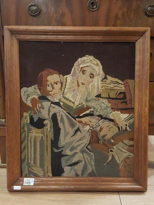 【卡卡頌 OMG歐洲跳蚤市場 / 西洋古董 】比利時老件_手工 針織老掛畫 pa0132 提供租借