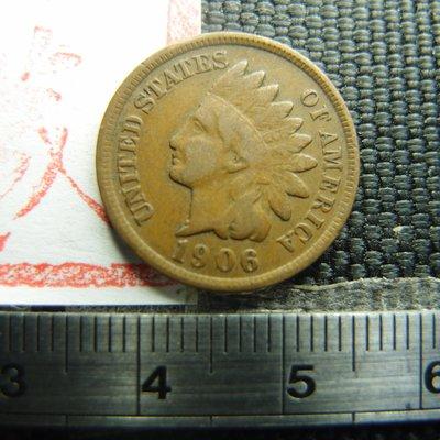【錢幣鈔】1906年 美國印地安銅幣 ONE CENT (原味老包漿)