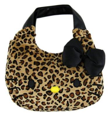 【卡漫迷】Hello Kitty 手提包 ㊣版 絨毛 手提袋 肩背包 豹紋 凱蒂貓 魔鬼氈 日本限定(大)