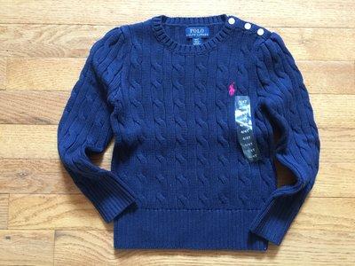 【Polo Ralph Lauren】RL 小女童 針織毛衣 小馬刺繡 麻花針織毛衣 長袖毛衣 針織衫 深藍色