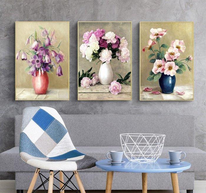 三幅一組油畫布  花卉花瓶靜物  畫芯/畫布/30X40☺暖暖屋☺傢居藝術館