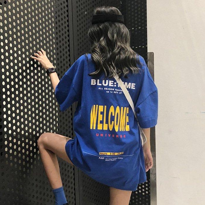 女生 短袖 正韓ins超火短袖T恤女夏裝2018新款韓版怪味少女嘻哈中長款上衣女蹦迪7-3