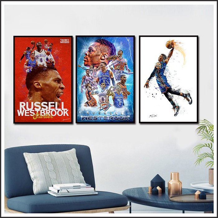 日本製畫布海報 NBA westbrook 威少 嵌框畫 掛畫 裝飾畫 @Movie PoP #