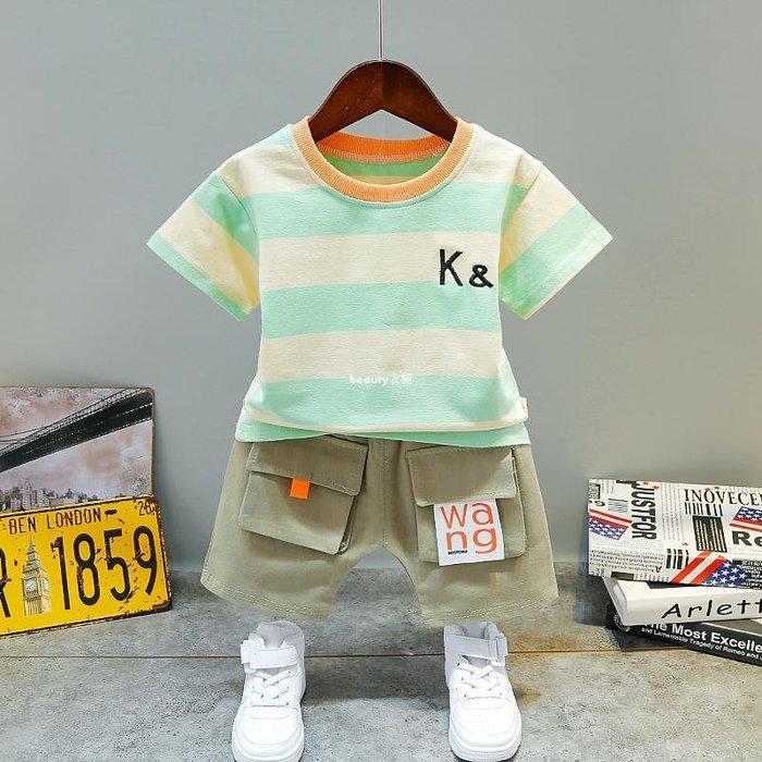 beauty衣櫥 男嬰兒夏裝寶寶短袖童裝0-1周歲半3歲女童夏天衣服小男孩夏款套裝