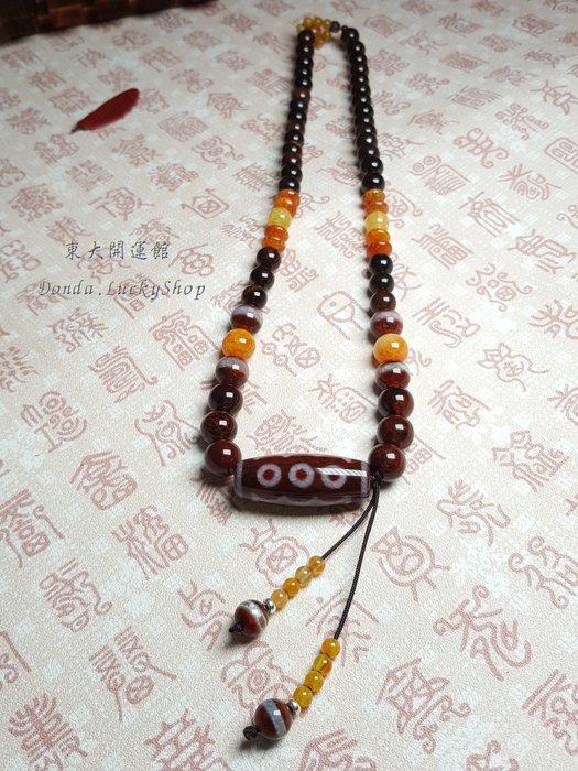 西藏瑪卡鑲蝕五眼天珠項鍊 天然純淨老礦新採 磁場乾淨 五路進財 福慧雙至 皆如人意【東大開運館】