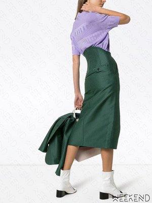 【WEEKEND】 PUSHBUTTON 特殊剪裁 後腰加長 開岔 千鳥紋 半身裙 窄裙 綠色